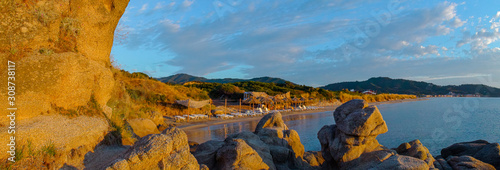 Seaside in Greece with beautiful rocks, Halkidiki, Sarti,panorama Canvas-taulu