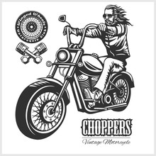 Custom Motorcycles Club Badge Or Label With Biker - Monochrome Vector Illustration Isolated On White