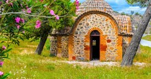 A Small Chapel In Front Of The Famous Monastery Moni Limonos Monastery On The Island Of Lesbos.