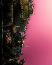Aerial Above A Pink Lake In Sp...