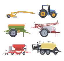 Tractor Set. Vector Flat Illustarion. Agriculture Machine With Equipment. Mower Spreader Sprayer Seeder Baler
