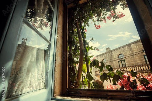 Fotomural Morning in old house window, with garden flowers and historical building behind