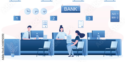 Fototapeta Bank managers and customers characters. Woman client in bank office room. Bank employees or staff on workplace. obraz