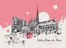 Drawing Sketch Illustration Of Notre Dame De Paris