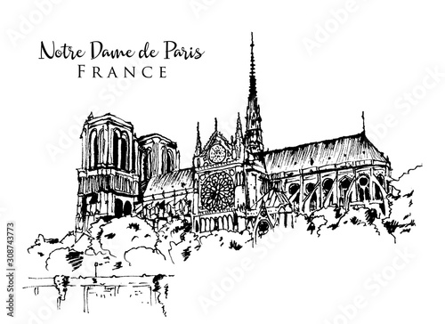 Canvas Print Drawing sketch illustration of Notre Dame de Paris