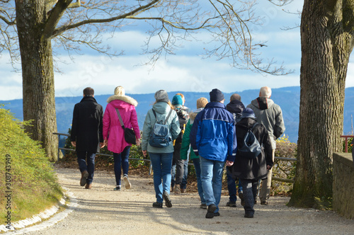 gens famille balade promenade loisir temps climat environnement Fototapet
