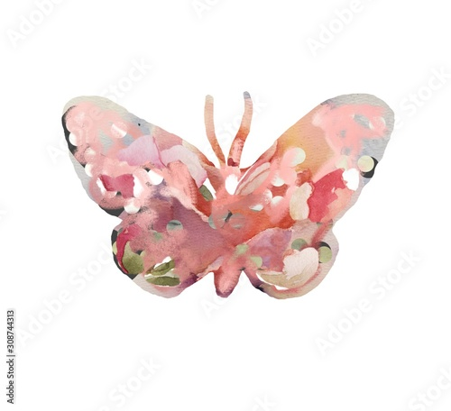 Colorful watercolor butterfly childish joy happy nature acquarel piainting drawi Fototapet
