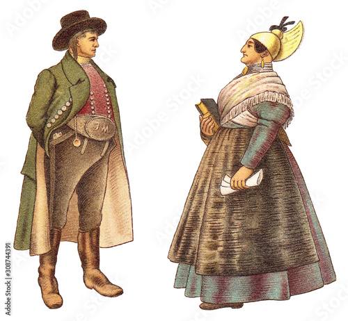 Historical fashion - farmer and country woman from Upper Austria (Austria) / vintage illustration from Meyers Konversations-Lexikon 1897 Fototapete