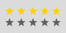 Five Stars Rating Icon On Tran...