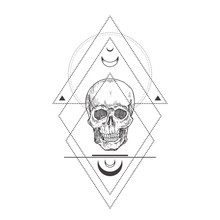 Abstract Occult Symbol, Vintage Style Logo Or Tattoo Template. Hand Drawn Scull Head Sketch Symbol And Geometric Mystical Magic Ornaments And Signs.