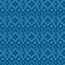Floral Ornament Pattern. Blue Wallpaper With Flower And Hearts.