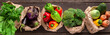 Leinwanddruck Bild - Collage of eco friendly and organic vegetables in paper bags