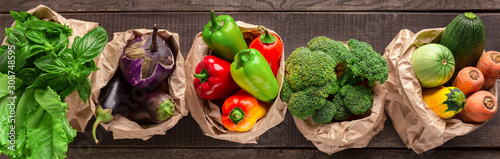 Stampa su Tela Collage of eco friendly and organic vegetables in paper bags