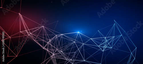 Abstract Polygonal Red Blue Mesh Lines | EPS10 Design