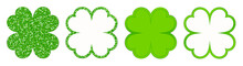 Set Of Four Straight Clover Le...