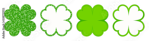 Set Of Four Straight Clover Leafs Sparkling And Shining Green Wallpaper Mural