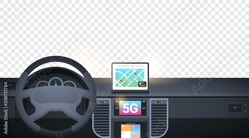 Fototapeta cockpit with smart driving assistance 5G online communication network wireless systems connection concept gps navigation system on dashboard screen car interior transparent background horizontal obraz