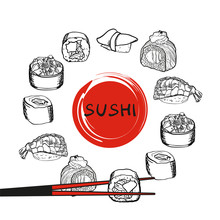 Sushi Set Vector Image. Japane...