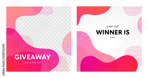 Valokuva Vector fluid giveaway and winner banner template set