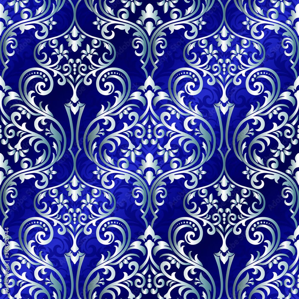 Seamless Damask Wallpaper. Seamless oriental pattern. Classic vintage background