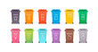 Sorting waste ecology concept. Vector flat llustration. Color trash bin with waste type icons isolated on white. Design element for banner, poster, background, web, infographic