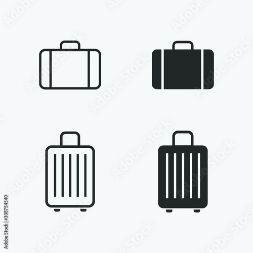 Photo baggage icons set. vector illustration of suitcase for web