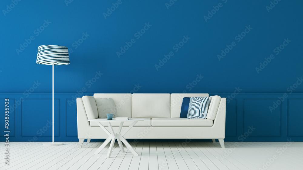Fototapeta The classic blue living room & luxury interior wall / 3D rendering
