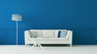 Leinwanddruck Bild The classic blue living room & luxury interior wall / 3D rendering