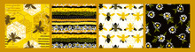 Seamless Patterns With Bee. Tr...