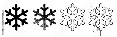 Photo Vector set of grungy snowflakes