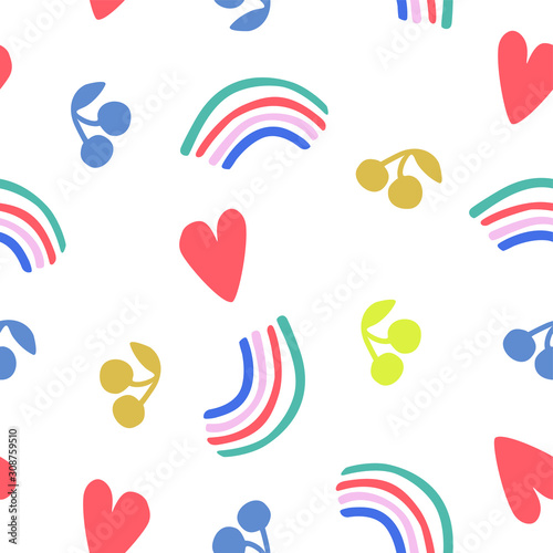 Fototapeta Fun seamless pattern with pretty decorations rainbows, heart shapes, cherries