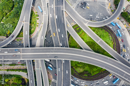 Obraz Aerial view of a massive highway intersection - fototapety do salonu