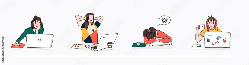 Fototapeta Stylish young women using laptops. Studying, browsing internet, social media, blogging. Online education or communication concept. Set of four hand drawn vector illustrations. Cartoon style