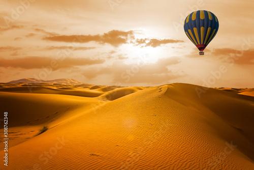 Desert and hot air balloon Landscape at Sunrise Canvas Print