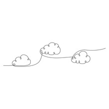 Continuous One Line Clouds Floating In The Sky. Vector Illustration.