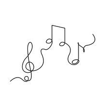 Continuous One Line Treble Clef And Notes, Musical Notes, A Or La. Vector Illustration.
