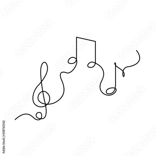 Obraz Continuous one line treble clef and notes, musical notes, A or La. vector illustration. - fototapety do salonu
