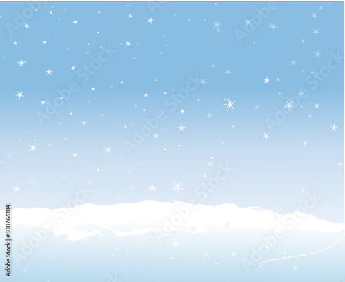 décor hivernal neige ciel bleu flocons Wallpaper Mural