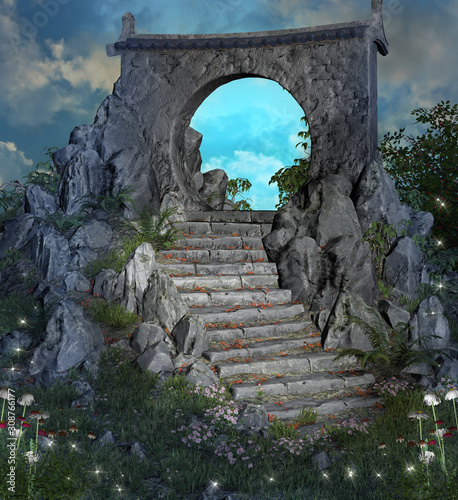 Flight of stairs leading to a magic gateway at evening time Canvas Print