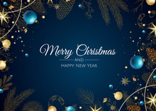 Merry Christmas And Happy New Year. Background With Snowflakes And Balls Design.