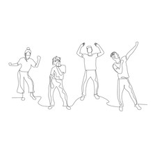 Continuous One Line Dancing People. Dance Party. Vector Illustration.