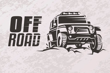 Off Road Car Stylized Vector Symbol, Offroader Logo Template