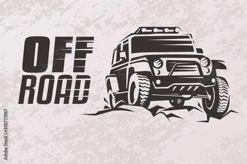 Fotomural  off road car stylized vector symbol, offroader logo template