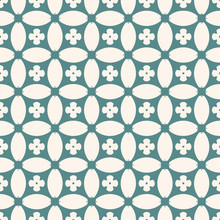 Vector Geometric Seamless Pattern. Abstract Floral Mosaic. Ornamental Background In Teal And Beige Colors. Ornament Texture With Flowers, Crosses, Rounded Shapes, Grid, Net, Lattice, Repeat Tiles