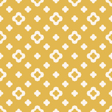 Vector Geometric Floral Seamless Pattern. Simple Repeat Minimal Texture. Yellow And White Color. Elegant Abstract Graphic Background. Minimalist Ornament With Small Flower Silhouettes, Stars, Crosses