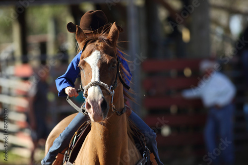 Front view of a little girl riding a horse during an american rodeo.