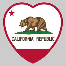 California Flag In Heart Shape...
