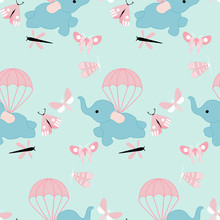 Flying Cute Elephant In A Seamless Pattern Design