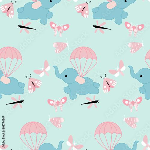Obraz flying cute elephant in a seamless pattern design - fototapety do salonu