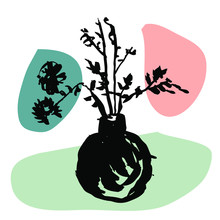 Round Vase Ikebana Art. Wild Flowers, Plants, Leaves, Twigs Illustration, Art Poster, Card. Linear Black Ink, Sketch Style Illustration, 1960s International Style, Colorful Cut Out Collage Background
